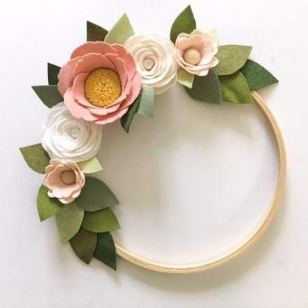 Photo of Trendy embroidery hoop wreath felt flower ideas