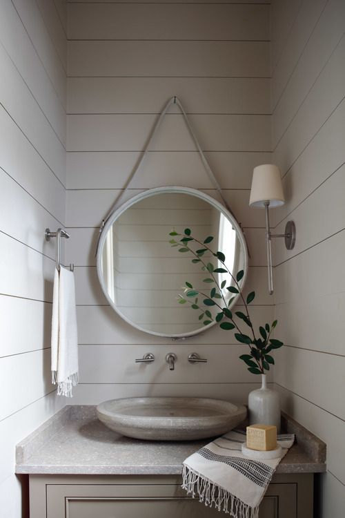 Narrow Small Space Bathroom With Shiplap Round Mirror Vessel