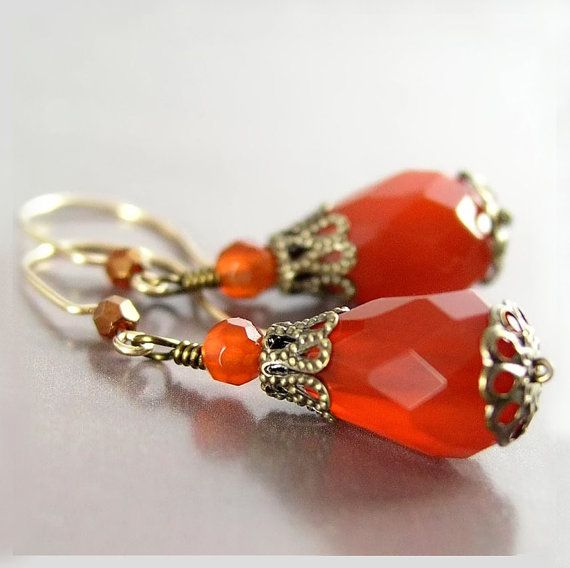 Red Carnelian Earrings Vintage Style Earrings Red by DorotaJewelry, $24.00