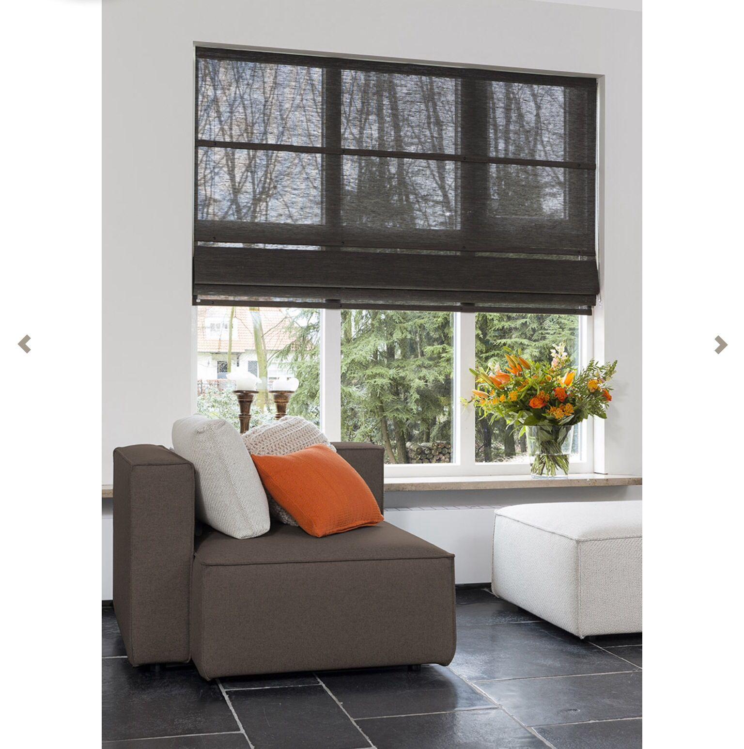 Sheer Roman Shade Dark Color Window Shades Matching Dark Tile Flooring Living Room Window Treatments Home Window Treatments Living Room Curtains Living Room #roman #shades #for #living #room #windows