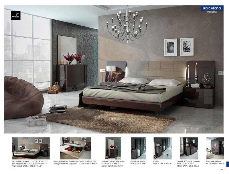 Esf Furniture Barcelona 5 King Platform With Storage Bedroom Set