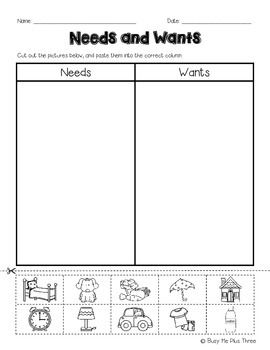 this is a great cut and paste worksheet for needs and wants children will cut out the pictures. Black Bedroom Furniture Sets. Home Design Ideas