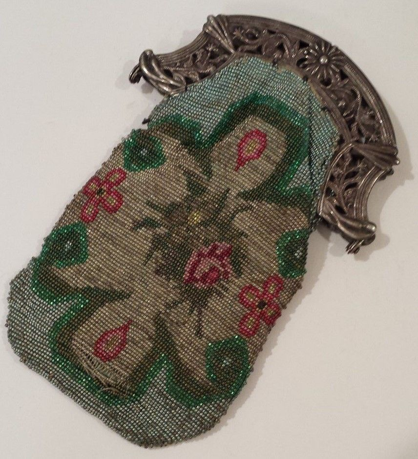 Antique+Silver+Hand+Beaded+Purse+(1873)+
