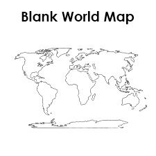 Printable blank world map template for social studies