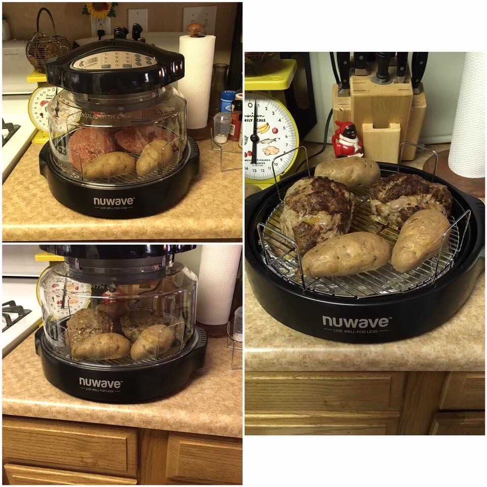 Nuwave Oven Meatloaf And Baked Potatoes Use Your Favorite Meatloaf Recipe Form A Loaf And Ad Nuwave Oven Recipes Convection Oven Cooking Halogen Oven Recipes