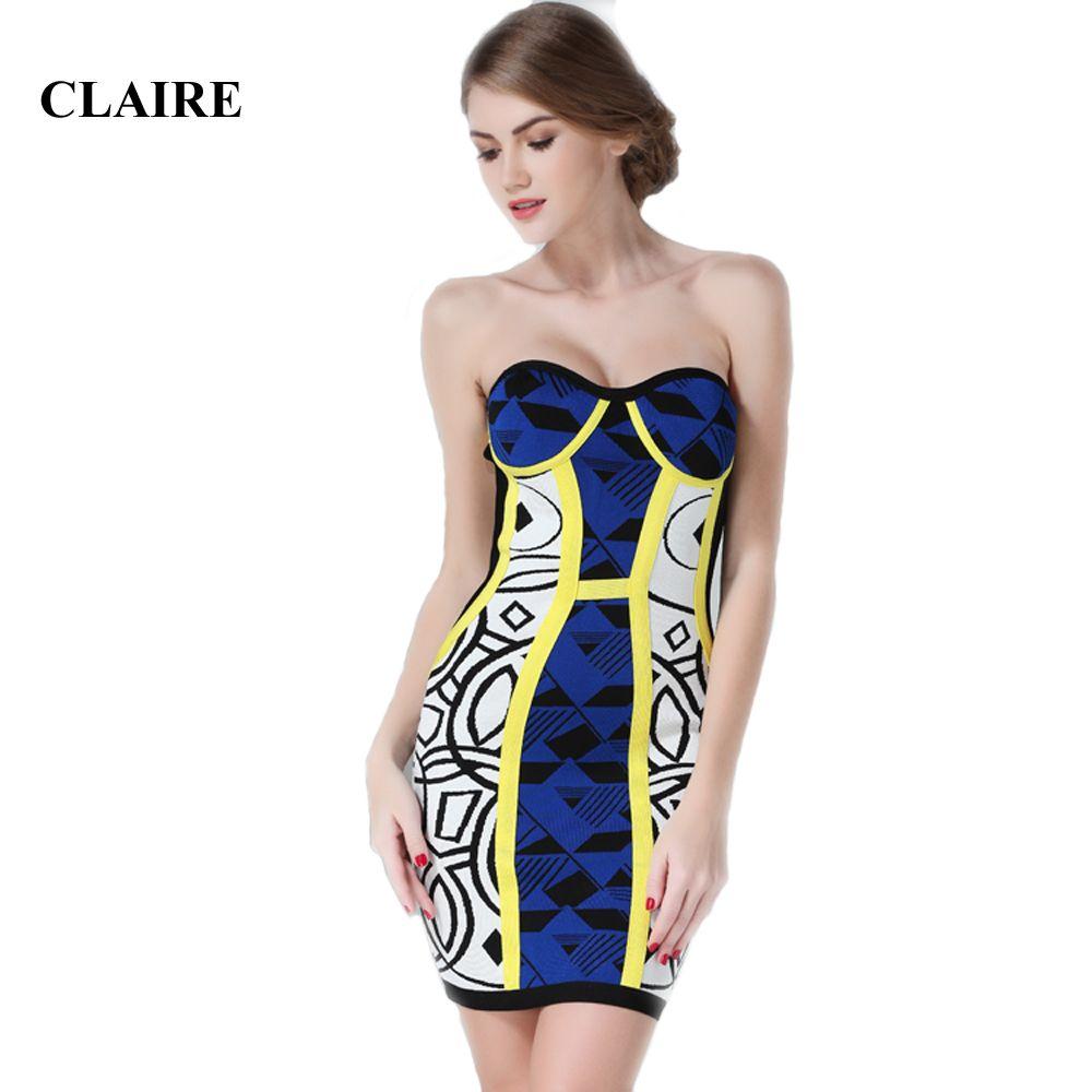 Claire 2016 Autumn Blue Patchwork Strapless Rayon HL Bandage Dress ... adb9f243c289