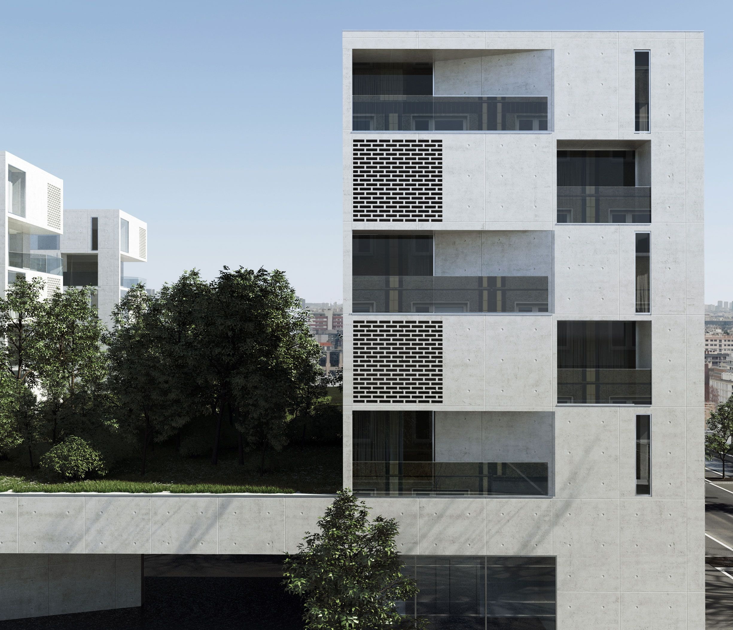 Aum architectes pierre minassian edouard minassian yves for Facade immeuble contemporain