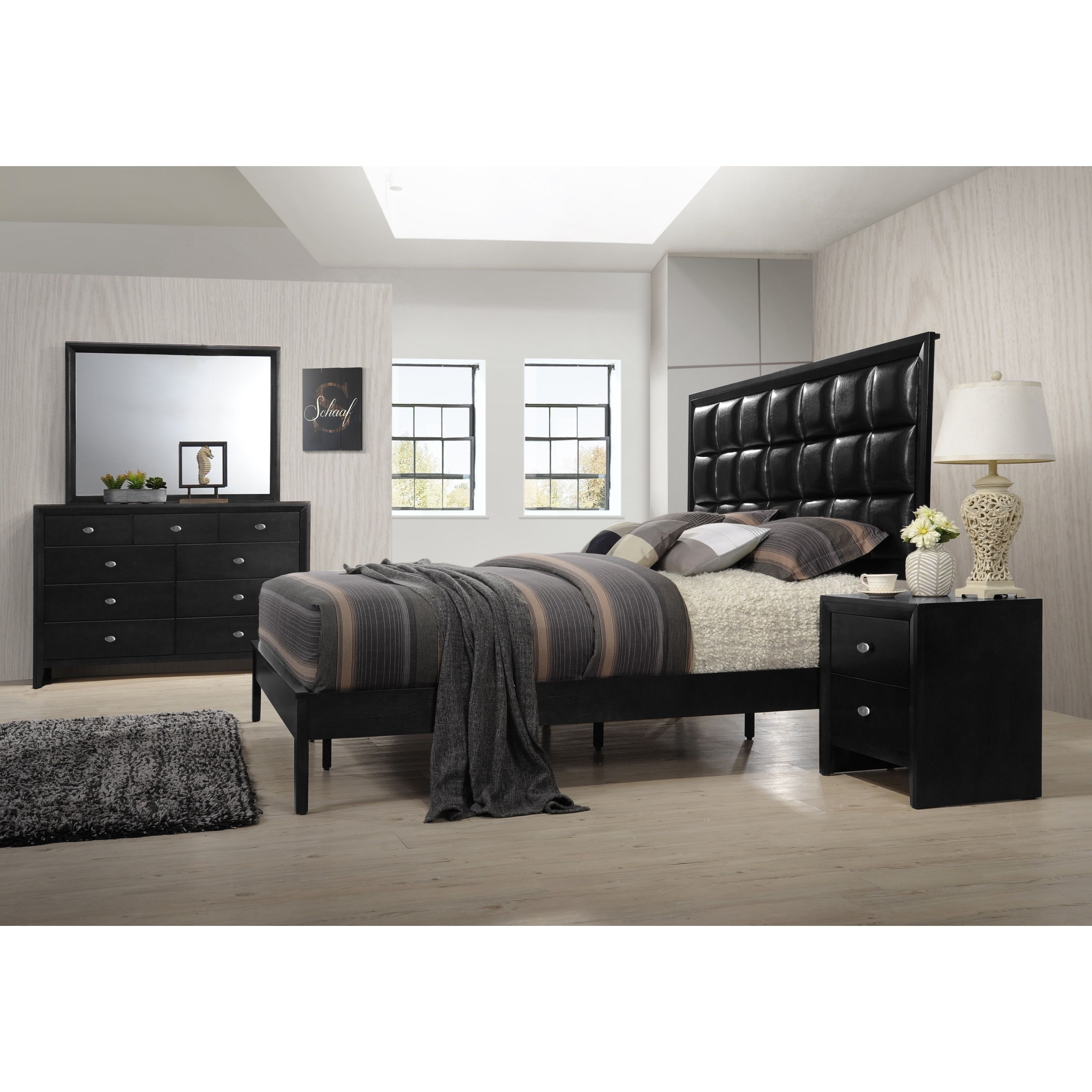 Gloria 350 Black Finish Wood and Upholstered Bed Room Set, King Bed ...