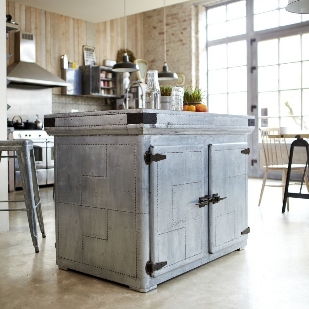 Zinc plated kitchen island. Lots of space on two shelfs(1) behind ...
