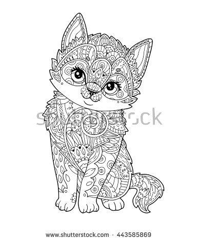 Sitting Kitten In Zentangle Style In Vector Hand Drawn
