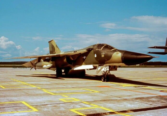 A rare shot of an F-111A with its integral ladder extended. The ladder was later removed.