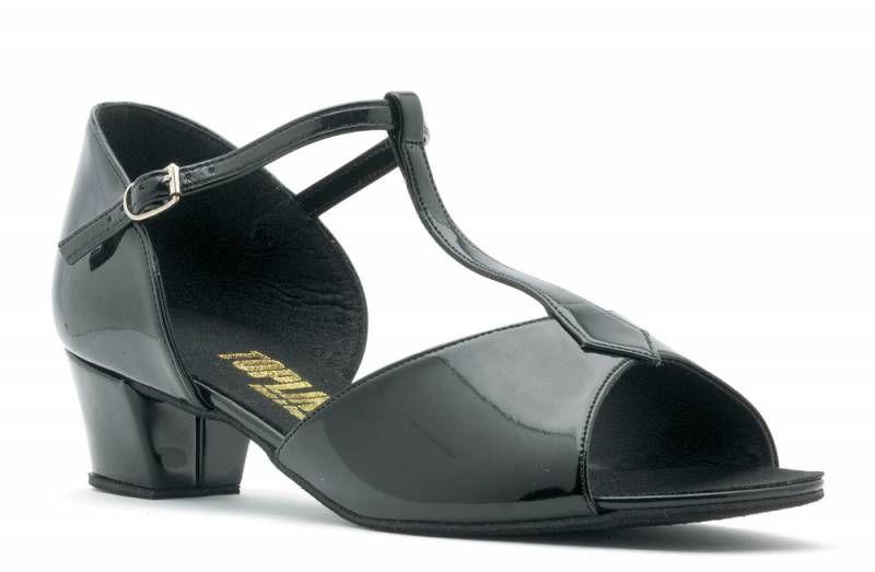 "Ladies Black Leather Social Latin Ballroom Dance Shoes 2/"" Heel Topline NICOLA"