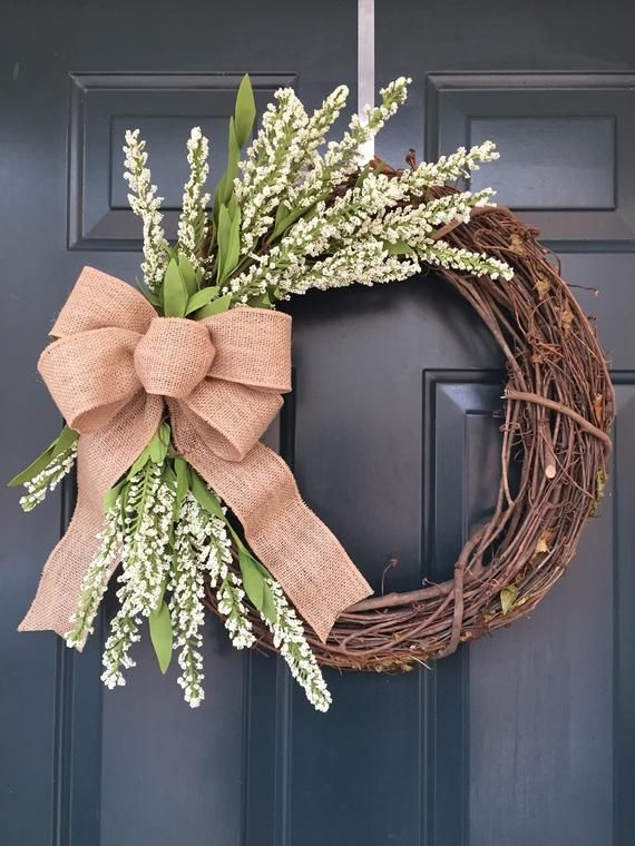 Photo of Year Round Grapevine Wreath, Farmhouse Style Wreath, Cottage Style, Spring and Summer Wreath, Rustic Wreath, Neutral Everyday Wreath