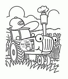 Funny Cartoon Tractor Coloring Page For Toddlers Transportation Pages Printables Free