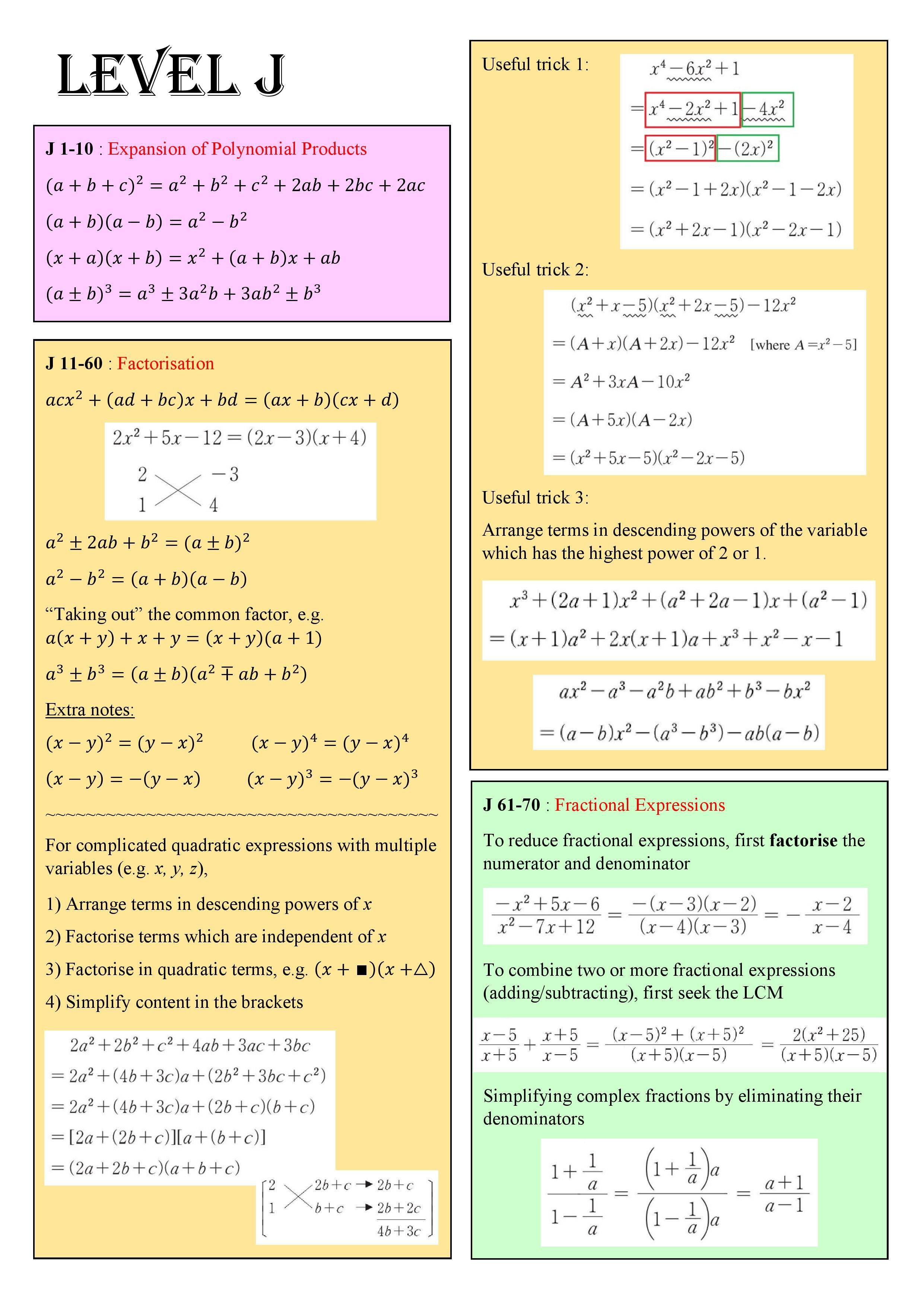 Note Summary 1 Kumon Math Revision Guides Life Hacks Websites [ 3508 x 2481 Pixel ]