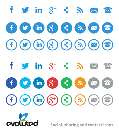 Free Social Media Share Contact Icons