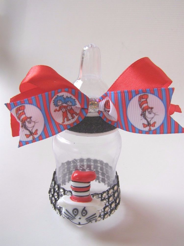 Thing 1 Thing 2 Red Cat In The Hat 10 Baby Bottle Favors Baby Shower Newborn #BabyShower