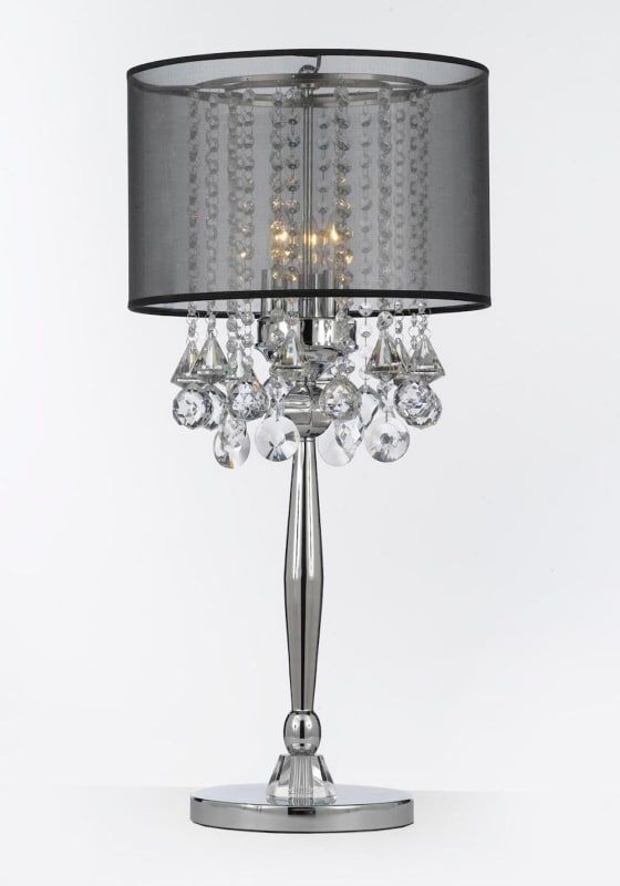 Harrison Lane T204 C0036 Blk 3 Light 29 Tall Buffet Table Lamp With Black Shade Chrome Lamps Table Lamps Crystal Table Lamps Lamp Crystal Lighting Living Room
