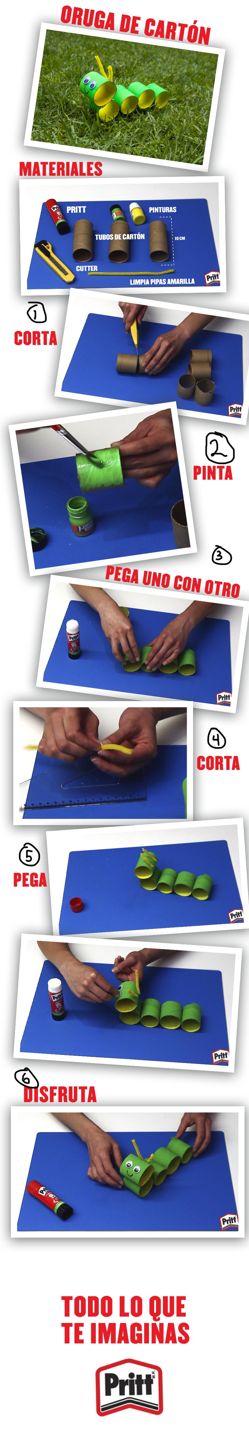 Diviértete creando una colorida oruga de cartón utilizando muy pocos y sencillos materiales: 3 tubos de cartón de 10 cm Cutter Pintura verde y amarilla Limpiapipas amarilla Lápiz adhesivo marca Pritt. Aprende a realizar esta manualidad siguiendo los pasos que se muestran en el siguiente video http://bit.ly/1QkYEsB