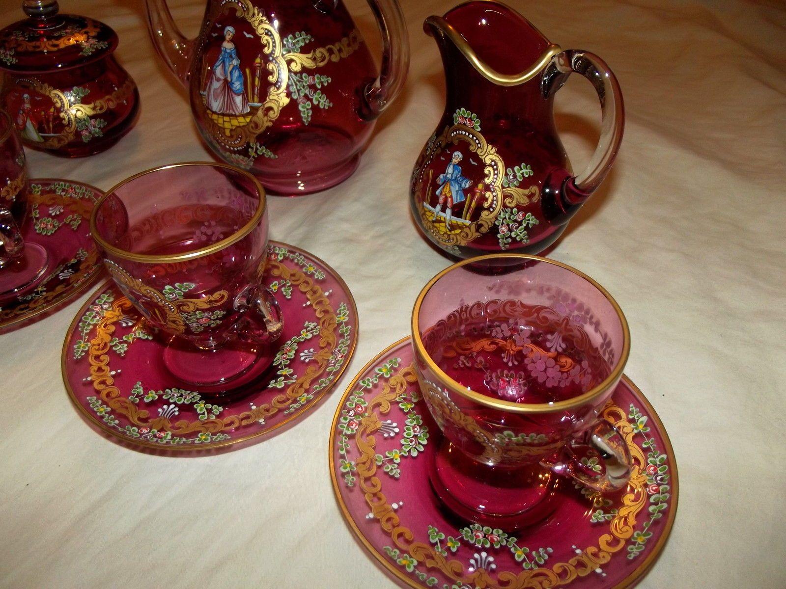 Tea Coffee Pot Cup Saucers Creamer Sugar Set, Bohemian