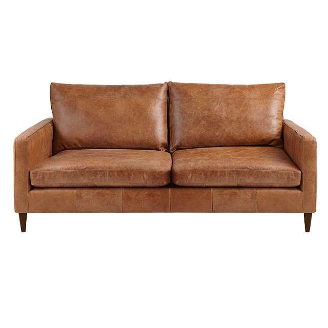 John Lewis & Partners Bailey Medium 2 Seater Leather Sofa, Luster ...