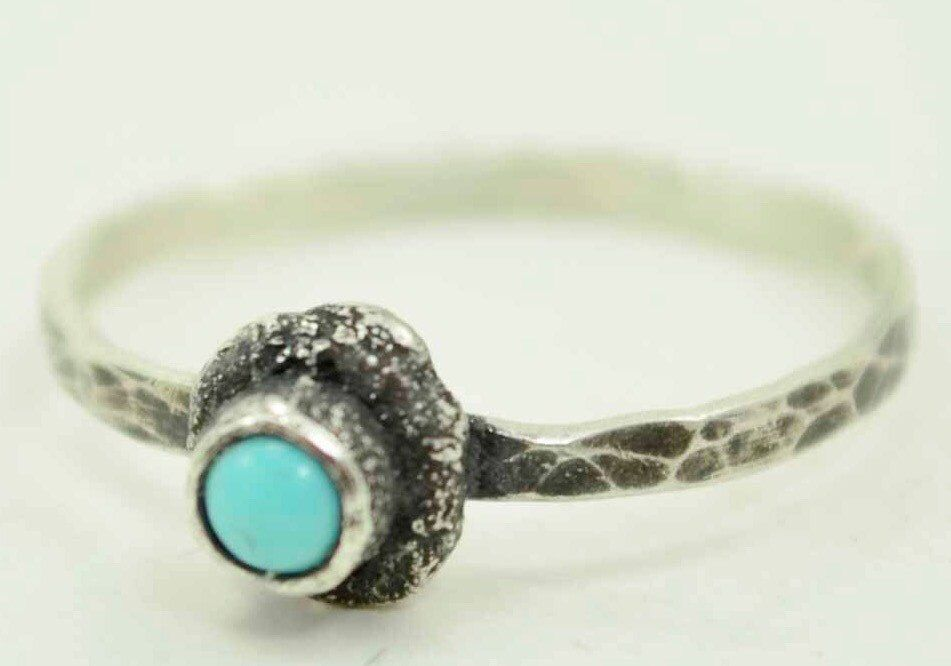 Turquoise Organic Ring, Drop of Silver Ring, Hammered Oxidized Ring,  3mm Turquoise Hand Made Ring by HollyPresley on Etsy https://www.etsy.com/listing/214582081/turquoise-organic-ring-drop-of-silver
