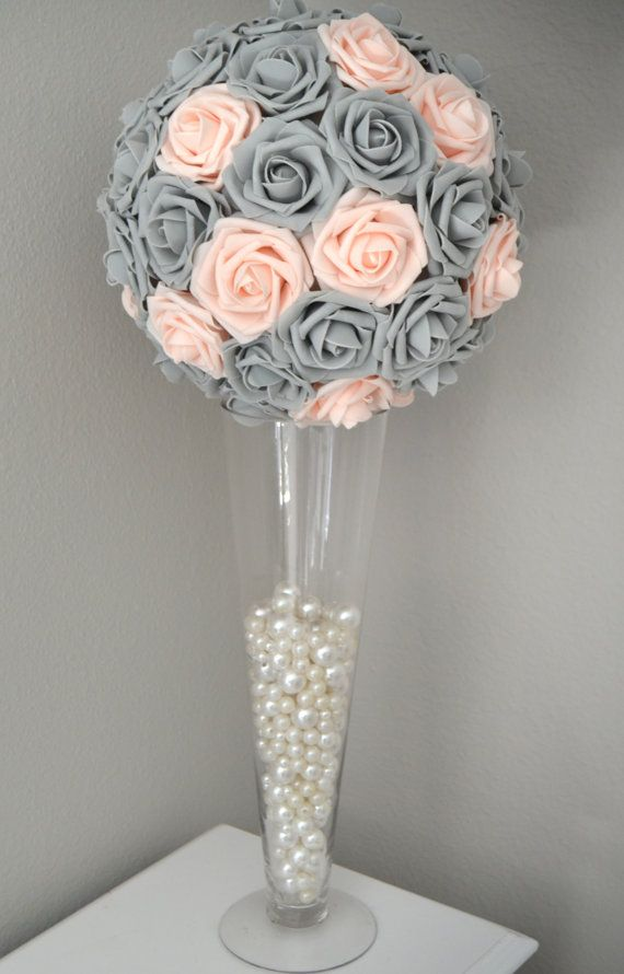 Pink Blush Gray Kissing Ball Wedding Centerpiece Flower Etsy Flower Ball Flower Centerpieces Wedding Wedding Centerpieces