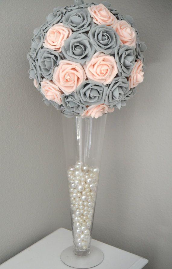 Pink blush gray kissing ball wedding centerpiece