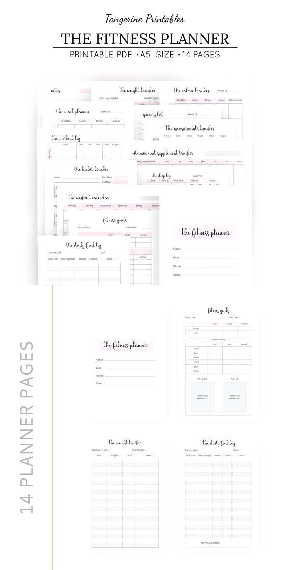Fitness Planner Bundle A5 Printable Workout Log Calorie