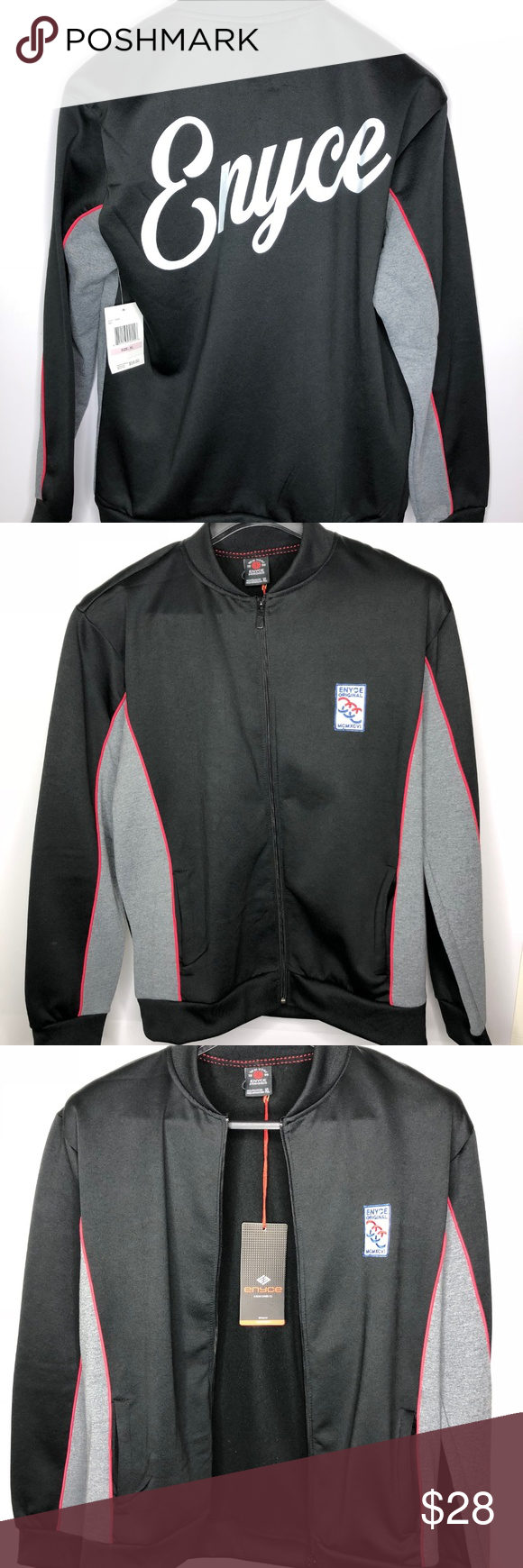 Enyce menus track vintage jacket fleece black nwt vintage jacket