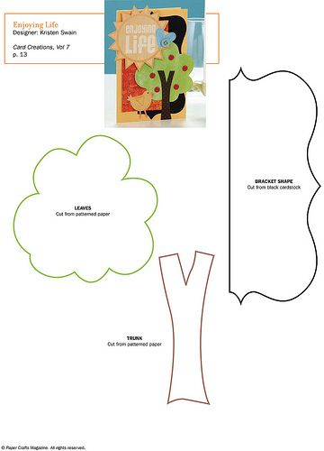 Free Tree Pattern Patterns for Cards, Card Bases, Boxes, Bags - bus pass template
