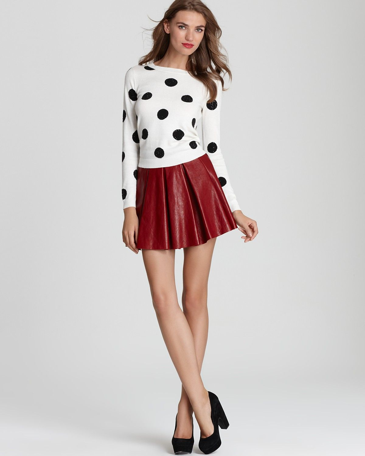 Alice   Olivia Sweater & Leather Skirt | Bloomingdale's | Fall ...
