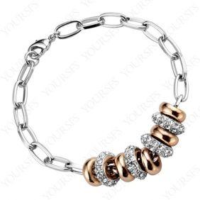 Fashion Brilliant bright Platinum Plated Use Swarovski Crystal Lucky Round 18K GP Pendant Bracelet B011W1
