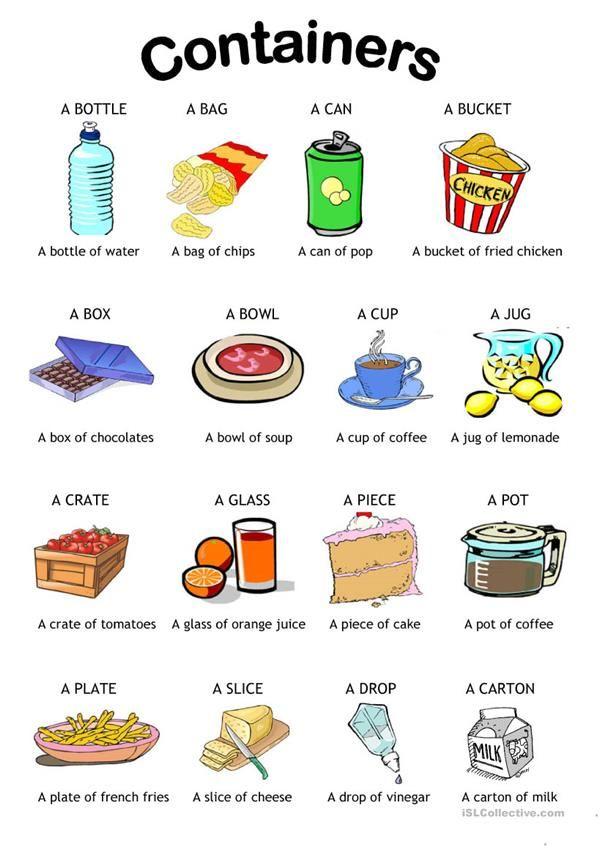 containers | Enseñanza de inglés, Vocabulario en ingles basico