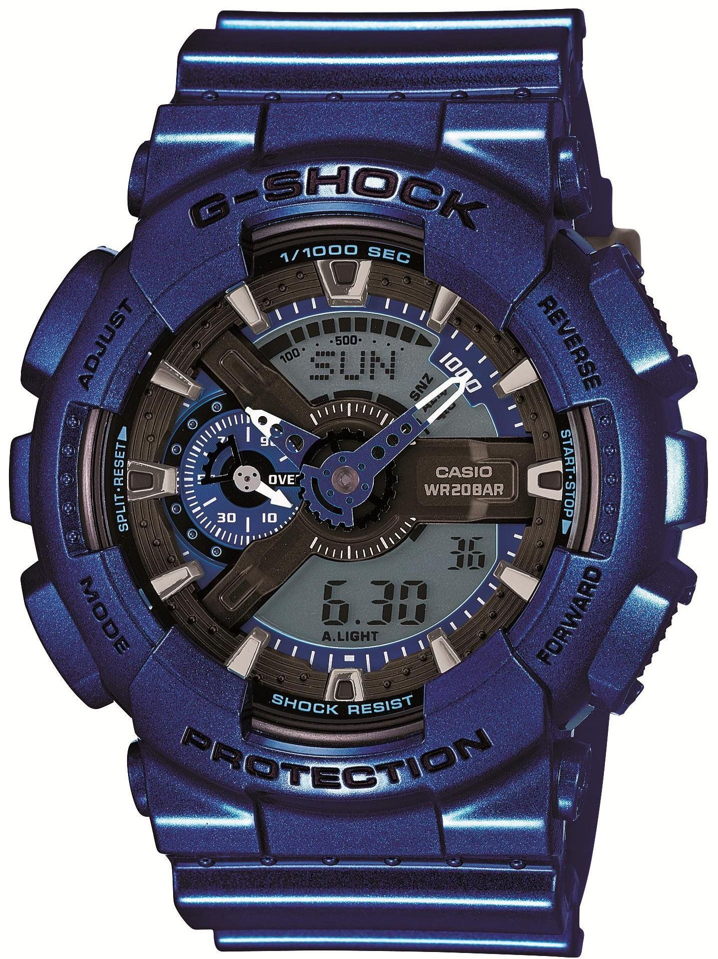 Casio G-Shock Blue-Tone Analog Digital Dial Resin Quartz Men's Watch GA110NM-2A. Shock and Magnetic Resistant 200 Meter Water Resistant Auto LED Light w/ Afterglow World Time Multi-Function Alarms (4) w/ Snooze Timer & Stopwatch Full Auto Calendar Quartz Battery Movement Analog & Digital G Shock Tough Comes in Original Box, Tin Can w/ Warranty.