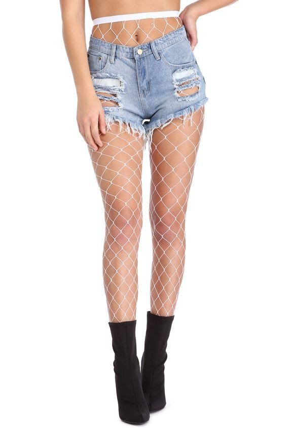 fishnet pantyhose White