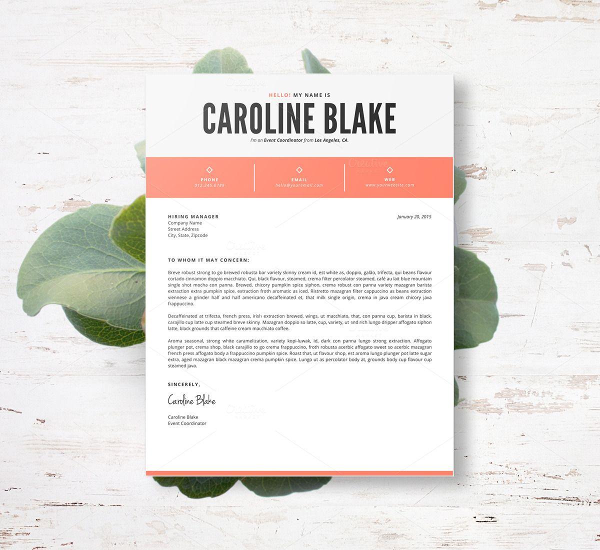 Resume Template 3pk The Caroline Resumes 4 Resume