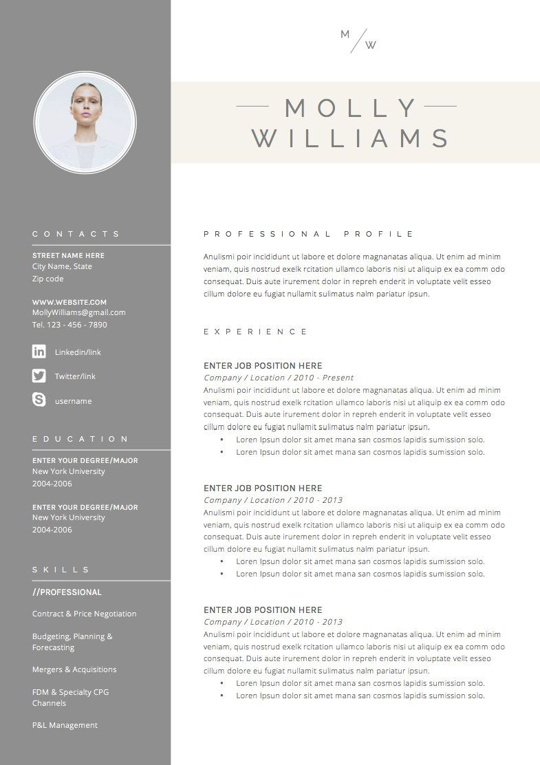 Resume Template 3page CV Template Cover By
