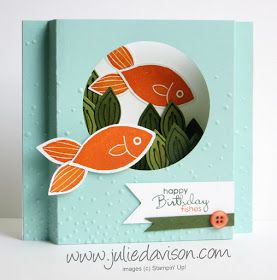 """Stampin' Up! Friends & Flowers Diorama Card: Happy Birthday """"Fishes"""" #stampinup Occasions Catalog Farewell Blog Hop www.juliedavison.com"""