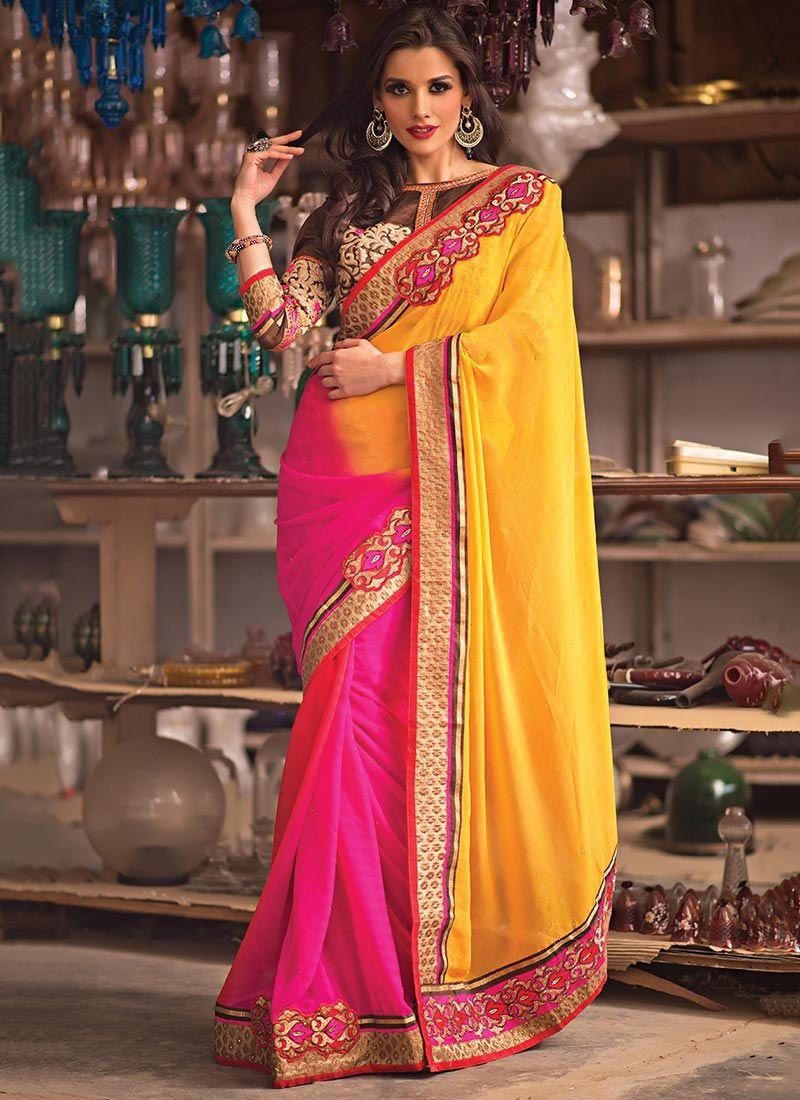 Magenta Pink And Yellow Shaded Border Saree