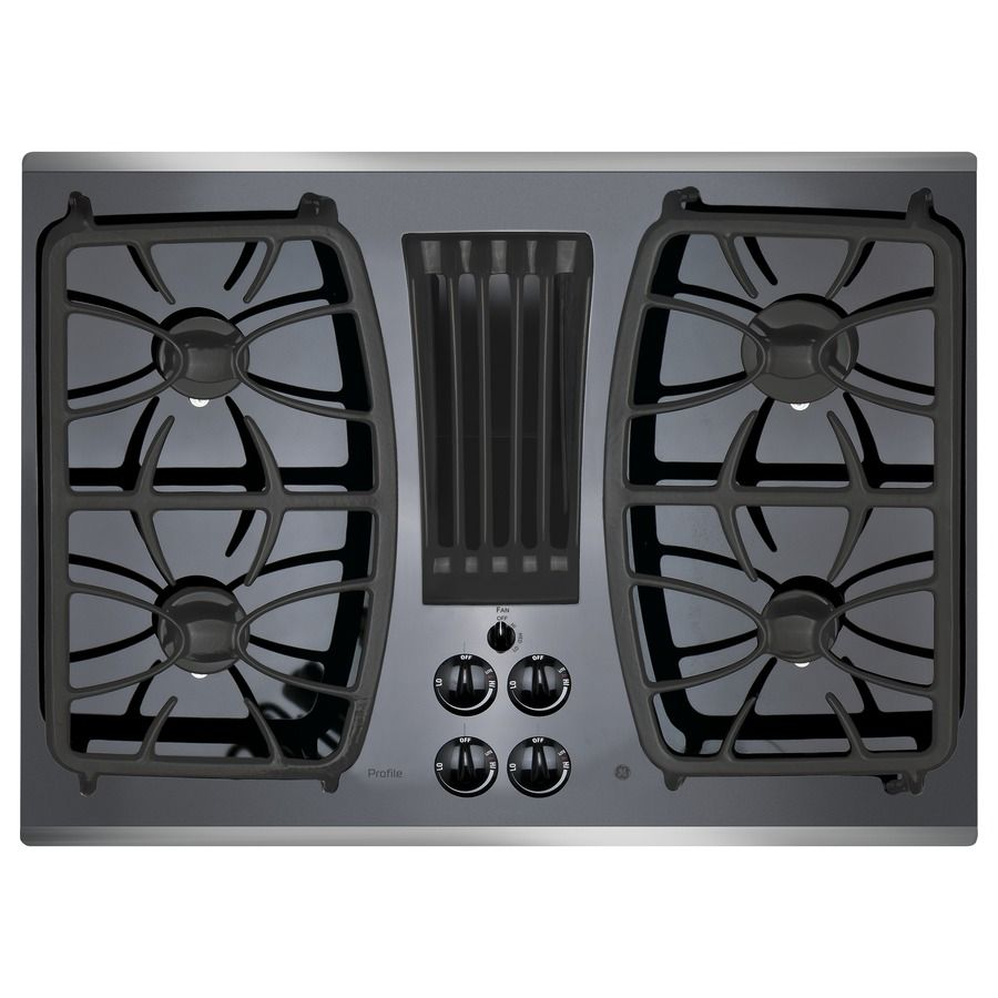Shop Ge Profile Series 4 Burner Downdraft Gas Cooktop Stainless Steel Common 30 In Actual 29 81 In Gas Cooktop Stainless Steel Cooktop Downdraft Cooktop