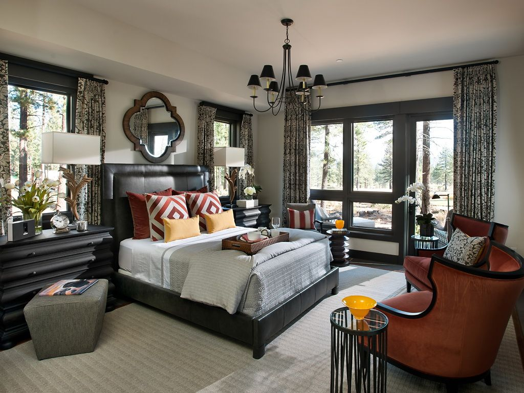 The hgtv dream home 2014 master bedroom borrows its color palette from the rich fall colors of its lake tahoe location it combines rustic masculine