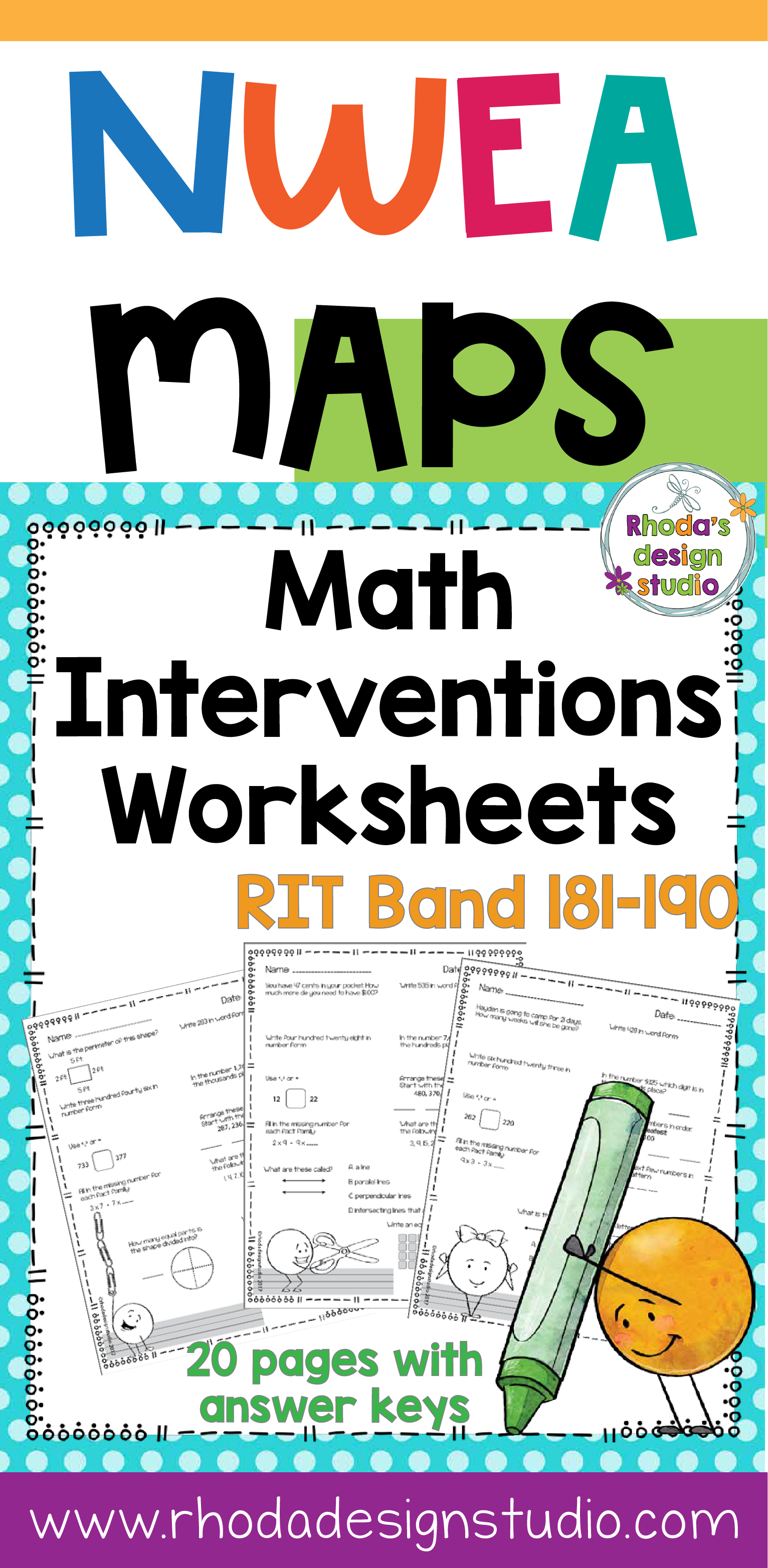Worksheets Math Intervention Worksheets nwea map prep math practice worksheets rit band 181 190 task cards that can be used for test or interventions these cover numbers and operations measurement da