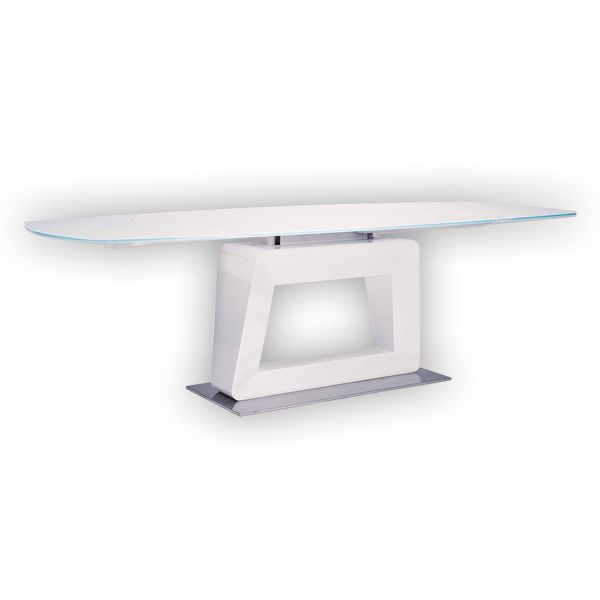 Glossy White Contemporary Clear Temper Glass Sleek Modern: Extending Dining Table With White Tempered Glass Top, High