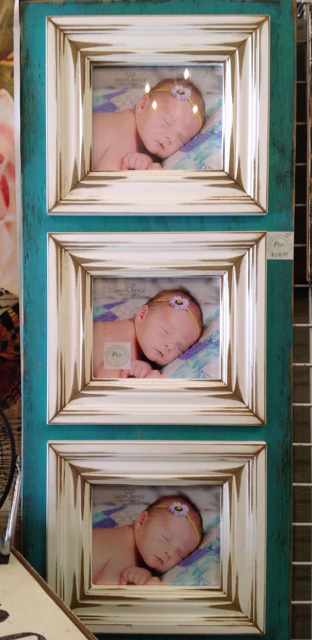 Jade green 8x10 triple, distressed, wooden picture frame. . The ...