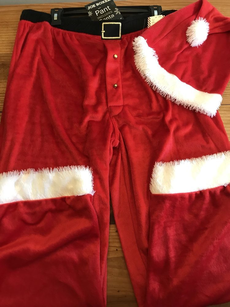 Joe Boxer Size XL Santa Pants & Hat Pajama Bottoms Christmas New ...