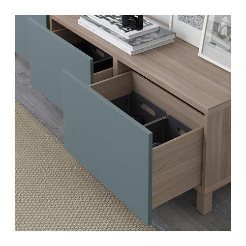 BESTÅ Aufbewahrung mit Schubladen - grau las Nussbaumnachb - wohnzimmer grau türkis