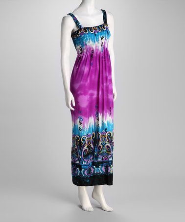 Take a look at this Purple Abstract Maxi Dress by Ivy Wear on #zulily today!