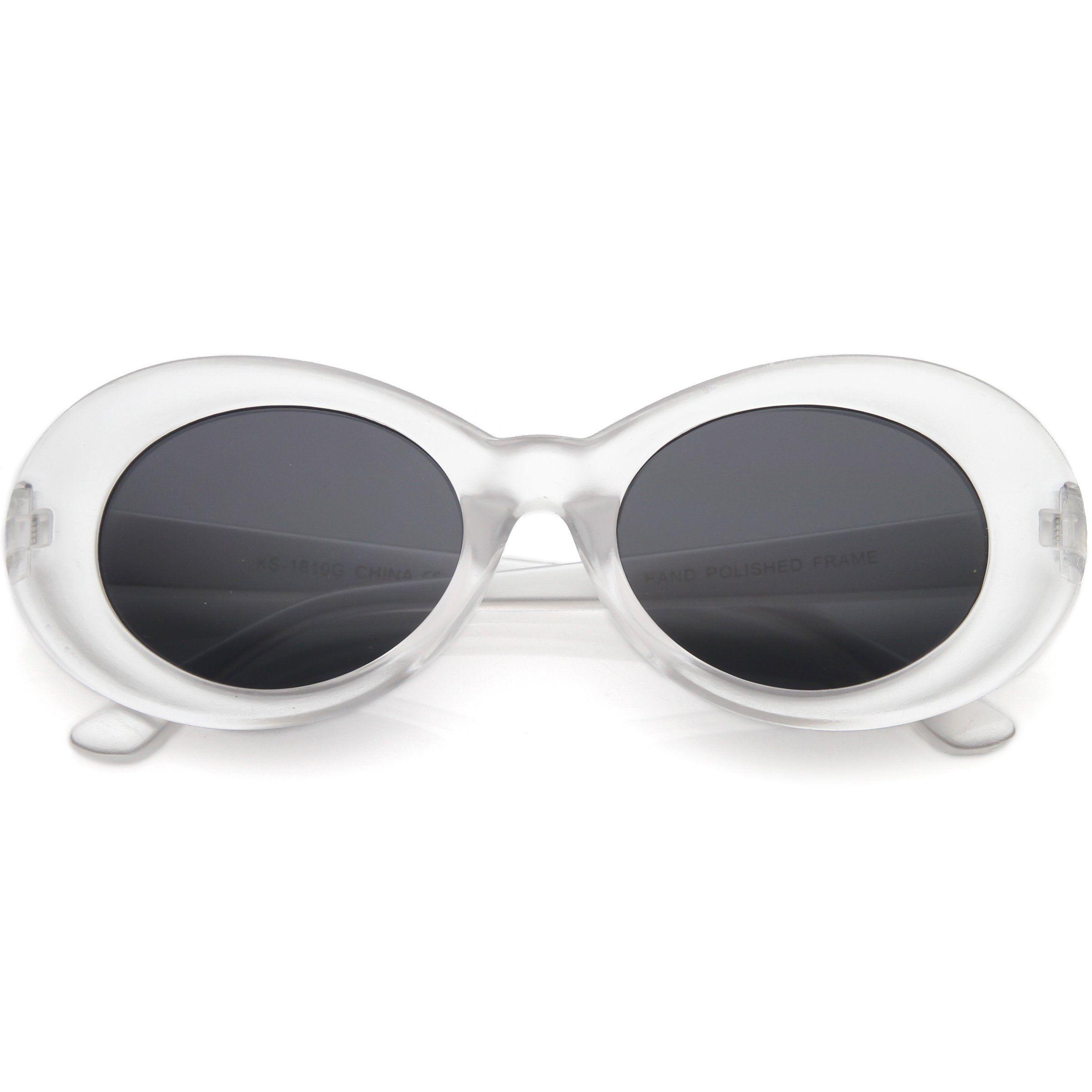 Retro 1990 S Fashion Transparent Thick Clout Goggle Oval Sunglasses C506 In 2020 Oval Sunglasses Glasses Fashion Sunglasses