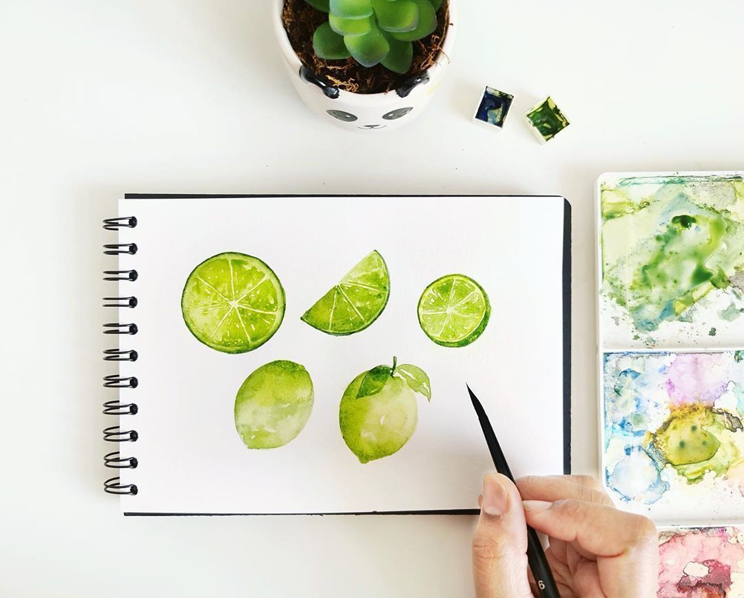 #artphilosophyco #watercolorconfectionstheclassics #watercolorillustration #fruitillustration #limeillustration